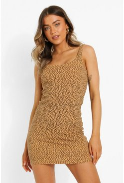 Tan brown Printed V Neck Strappy Mini Dress
