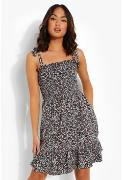Black Floral Print Shirred Skater Dress