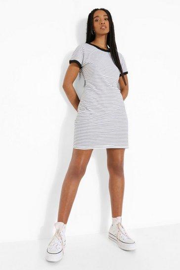 Black Stripe Ringer Detail T Shirt Dress