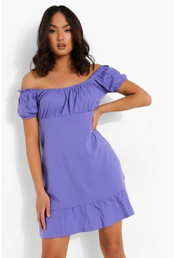 Purple Frill Hem Mini Dress