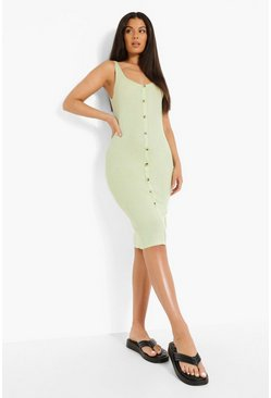 Pale green green Button Through Midi Bodycon Dress