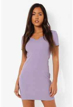Lilac purple Notch Neck Short Sleeve Mini Dress