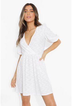 White Broderie Wrap Puff Sleeve Skater Dress