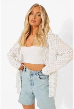 Ivory Woven Mini Heart Print Relaxed Fit Shirt