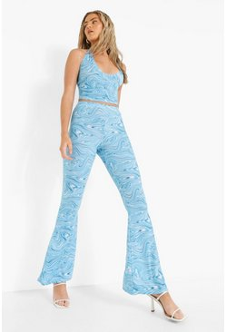 Blue Marble Print Bralette & Flared Trouser Set