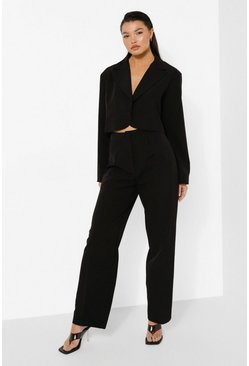Black Relaxed Fit Tailored Trousers