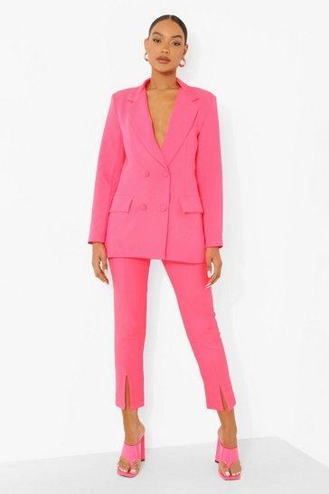 Neon-coral orange Neon Split Front Tailored Trousers