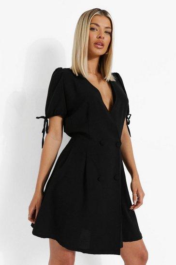 Black Linen Look Double Breasted Blazer Dress