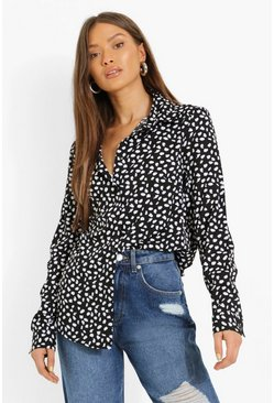 Black svart Woven Printed Relaxed Fit Shirt