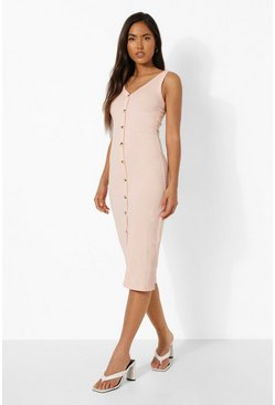 Blush pink Rib Button Through Midi Bodycon Dress