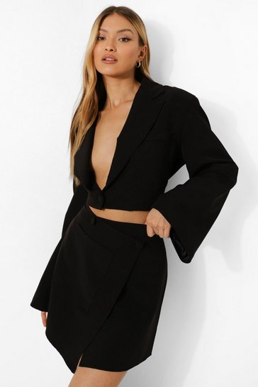 Black Flared Sleeve Cropped Tailored Blazer