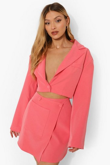 Candy pink pink Flared Sleeve Cropped Tailored Blazer