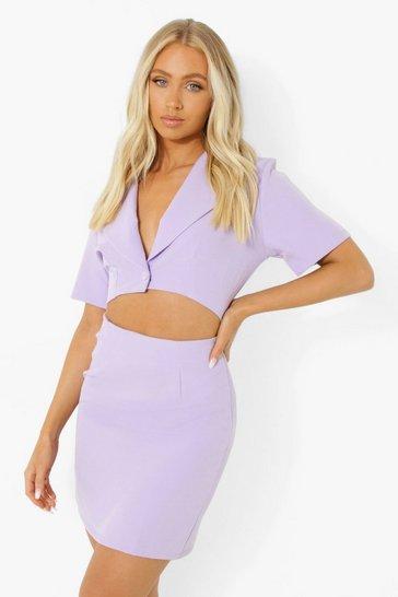 Lilac purple Woven Cut Work Blazer Dress