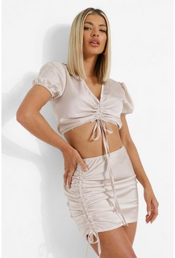 Oyster white Satin Ruched Puff Sleeve Crop & Mini Skirt