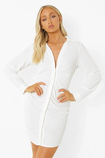 Ivory white Linen Look Ruched Shirt Dress