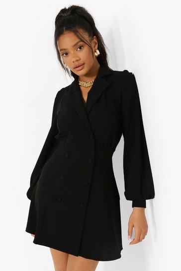 Black Blouson Sleeve Blazer Dress