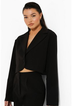 Black Relaxed Fit Tailored Cropped Blazer