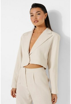 Sand Relaxed Fit Tailored Cropped Blazer