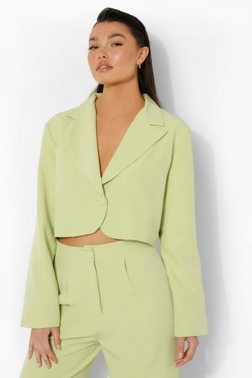 Soft lime yellow Relaxed Fit Tailored Cropped Blazer
