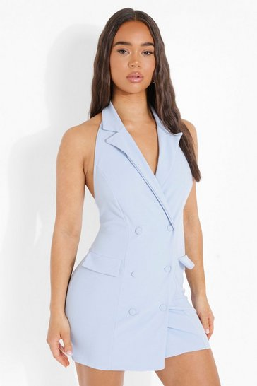 Light brown Halterneck Blazer Dress