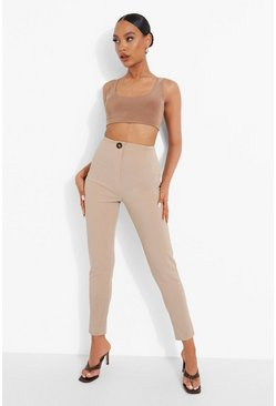 Stone beige Tailored Crepe Skinny Trousers