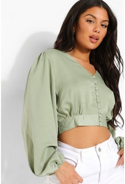 Button Front Volume Sleeve Blouse, Sage verde