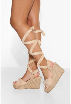 Beige Twisted Knot Wrap Up Wedge