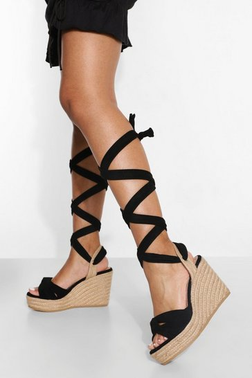 Black Twisted Knot Wrap Up Wedge