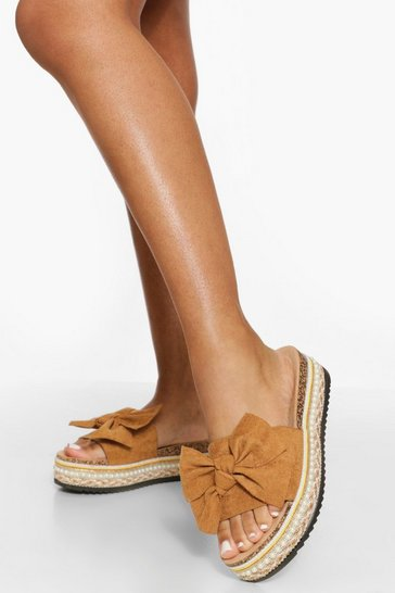 Light tan beige Bow Espadrille Flatform