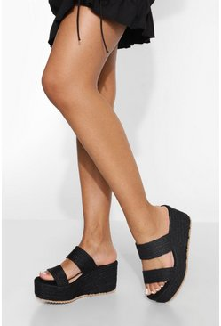 Raffia Wedge , Black nero