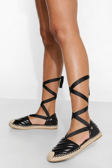 Black Quilted Wrap Up Espadrille