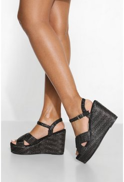 Raffia 2 Part Wedge , Black nero