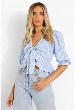 Blue Ditsy Floral Ruffle Front Blouse