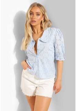 Blue Broderie Puff Sleeve Shirt