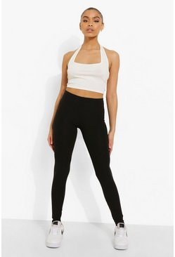Black Ribbed Basic Leggings