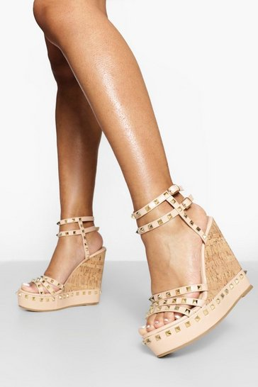 Nude Stud Strappy Detail Wedges