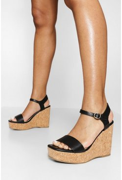 Black svart Strap Detail Wedges