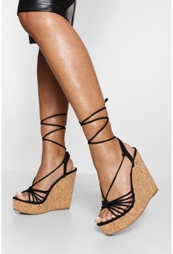 Black Strappy Wrap Up Detail Wedges