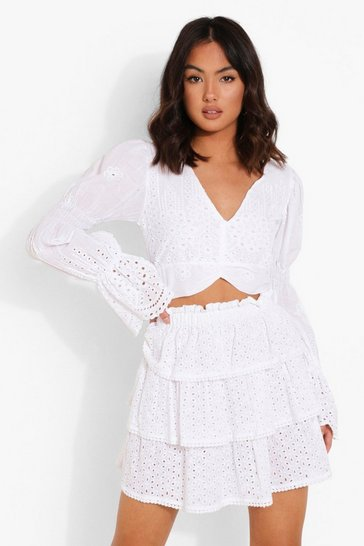 White Broderie Sleeve Detail Crop Top