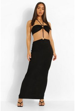 Black D-ring Halterneck Cut Out Maxi Dress