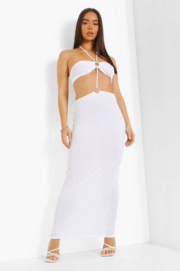 White D-ring Halterneck Cut Out Maxi Dress