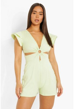 Lime green D-ring Cut Out Playsuits