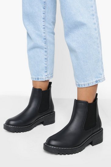 Black Wide Fit Contrast Stitch Chelsea Boots