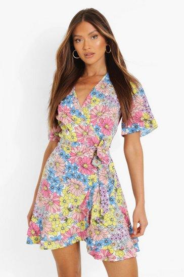 Multi Daisy Print Wrap Ruffle Tea Dress