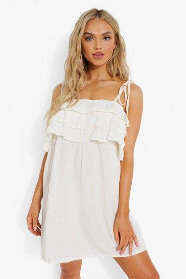 White Linen Ruffle Strappy Shift Dress
