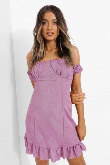 Lilac purple Linen Look Bardot Frill Hem Mini Dress