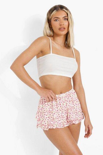 Cream white Floral Ruffle Trim Flippy Shorts