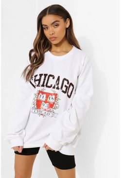 White Chicago Crest Print Super Oversized Sweater