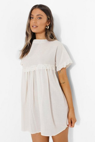 White Linen Look Ruffle Smock Dress