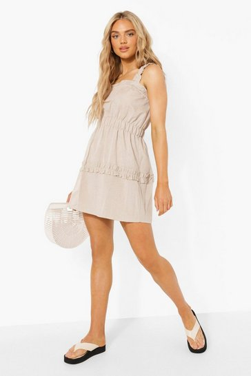 Stone beige Linen Look Ruffle Skater Dress